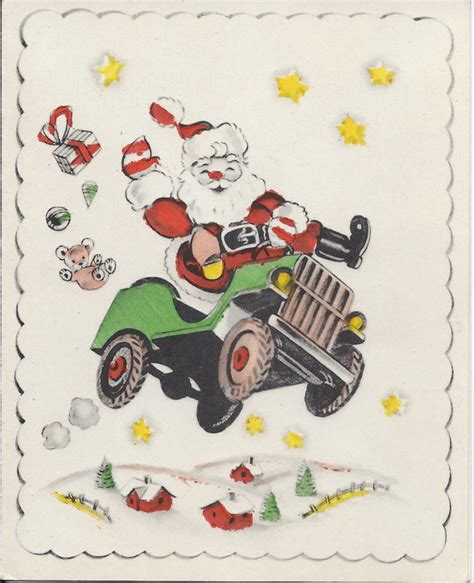 christmas jeep card santa claus and jeep greeting card on etsy 4 ewillys