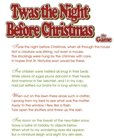 night before advent party twas the before print each page below cut apart each paragraph