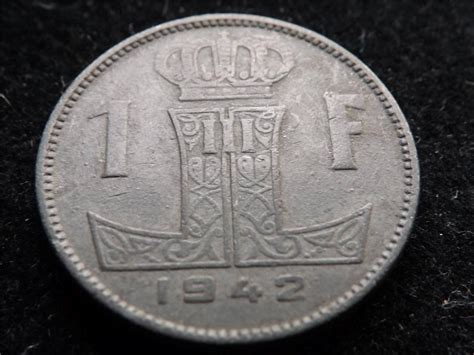 1942 Belgium 1 One Franc Coin.