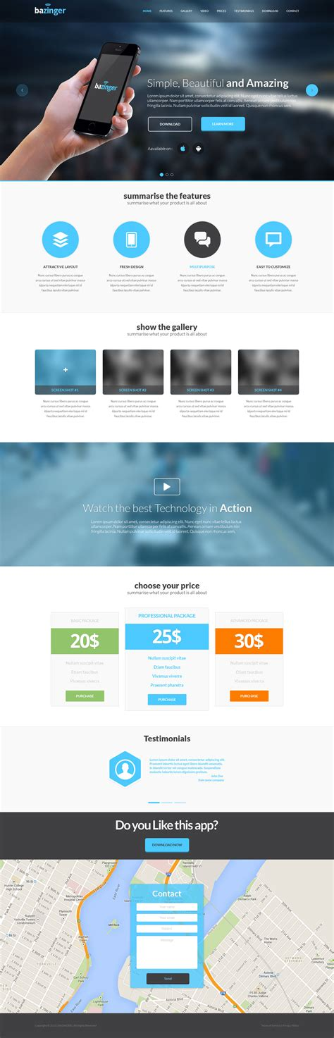 landing page template bazinger landing page free html template free html5 templates