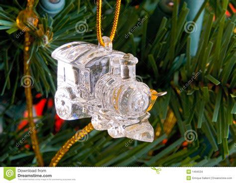 christmas crystal train decorations   tree stock photo