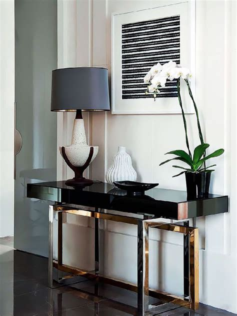 how to decorate a living room with a modern console table