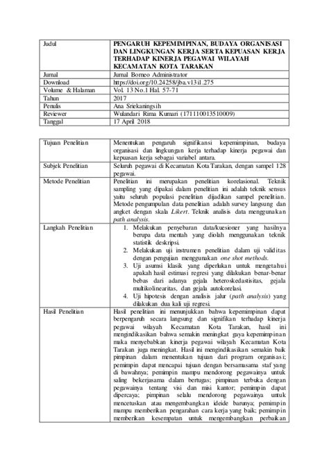 Contoh Review Jurnal Ilmiah (PENGARUH KEPEMIMPINAN, BUDAYA