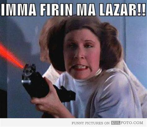 Princess Leia Meme - princess leia is firing her laser funny princess leia making derp face when firing her laser