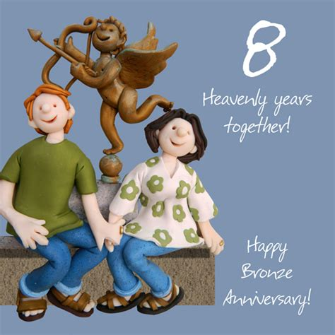 happy  bronze anniversary greeting card  lump   cards love kates