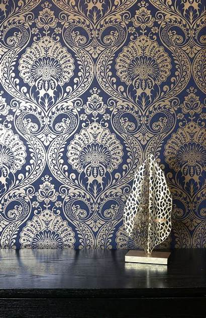 Navy Damask Wallpapers