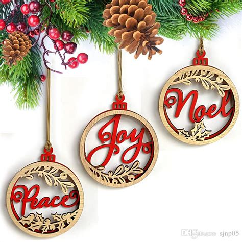 wood christmas ornaments laser cut joy peace letters