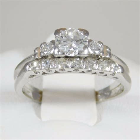 diamond and platinum engagement ring wedding band ebay