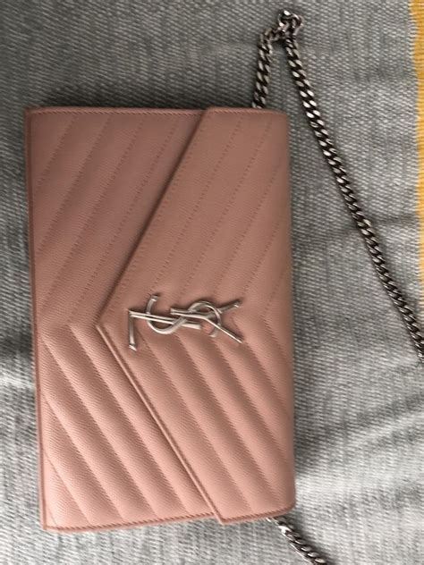 saint laurent envelope shoulder ysl monogram quilted chevron pink leather cross body bag tradesy