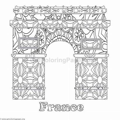 Coloring Landmarks Pages Word Countries Getcoloringpages France