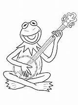 Kermit Coloring Pages Guitar Frog Playing Banjo Drawing Printable Acoustic Sky Coloringonly Coloringsky Door Getdrawings Getcolorings sketch template