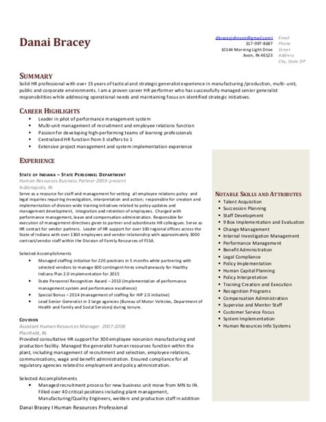 human resources generalist functional resume