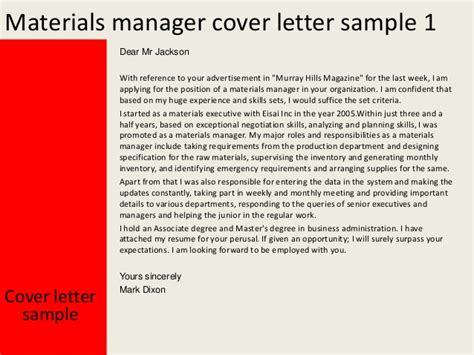 Materials Manager Resume Cover Letter by Materials Manager Cover Letter