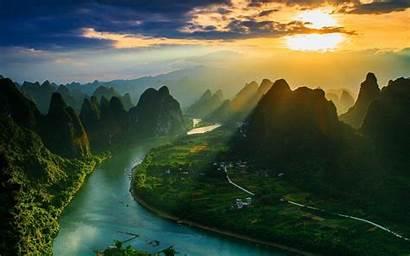 Mountain China Landscape River Sunset Sun Nature