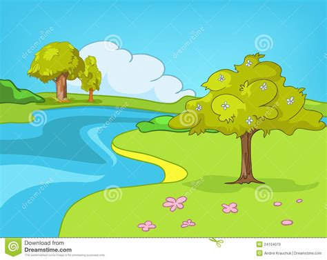 Banner template with natural scenery or landscape vector. Cartoon Nature Landscape stock vector. Image of green ...