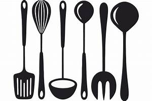 Kitchen Utensils Clipart Black And White Black Kitchen Utensils