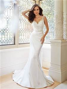 fitted trumpet mermaid v neckline and back satin tulle With satin fitted wedding dress