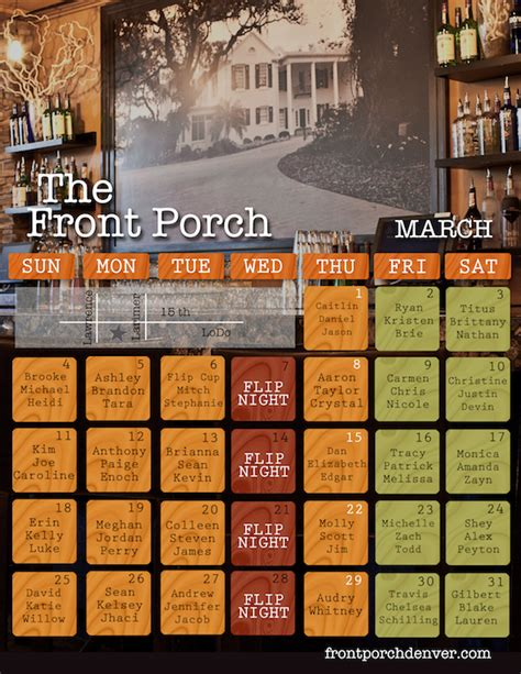 Front Porch Calendar by Find Your Name On Our Calendar And Drink For Free Front