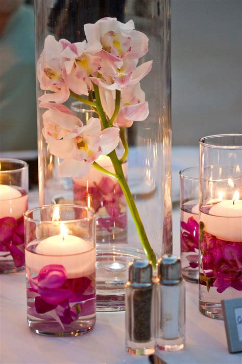 Maui Wedding Orchid Centerpieces With Floating Candles By