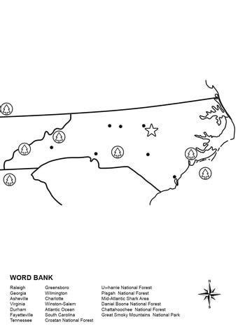 North Carolina Map Worksheet Coloring Page  Free Printable Coloring Pages
