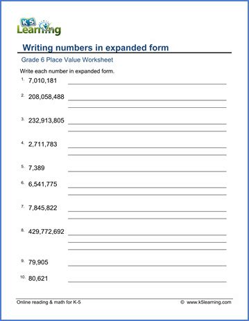 grade 6 place value worksheet writing numbers in expanded