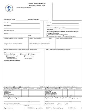 bcbsnc continuity of care form fillable online health state ri continuity of care form