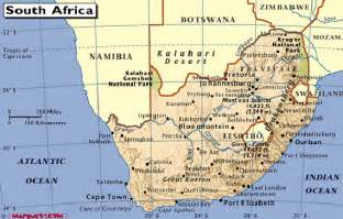 South Africa Physical Features Map
