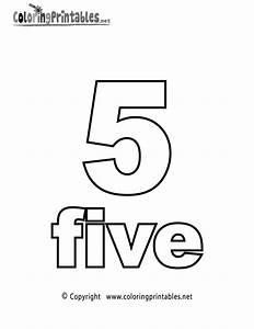 Number Five Coloring Page Printable