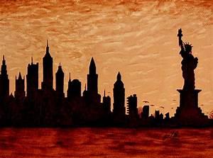 New York City Sunset Silhouette Painting by Georgeta Blanaru