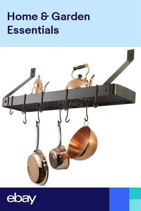 wall mount grid pot pan rack hanging storage cooking organizer hanger shelf wall mounted