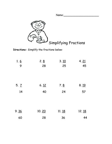 year 6 simplifying fractions worksheet equivalent