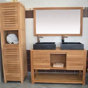 meuble sous vasque en teck 120 cm mrc002 120 With meuble salle de bain 120 bois