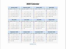 2025 Calendar Blank Printable Calendar Template in PDF