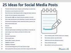 25 Ideas for Social Media Posts The URL Dr