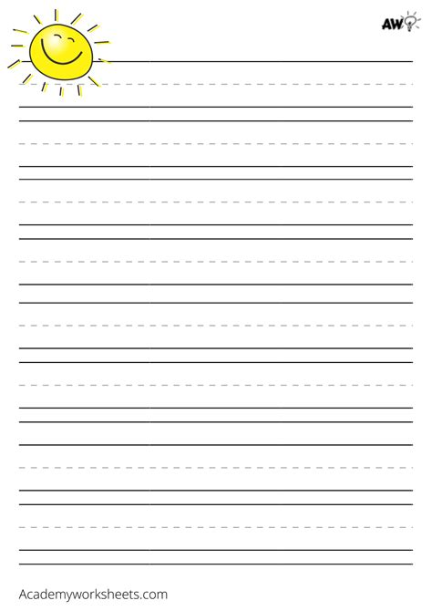 printable lined paper  kids academy worksheets