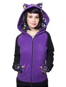 cat hoodie cat ear fleece zip up hoodie by crazyheads kawaii clothing