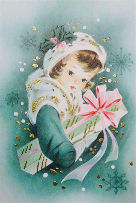 retrochristmas vintage christmas card christmas girl