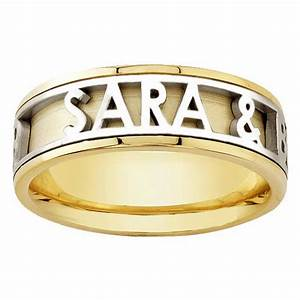 18k yellow gold name personalized band 6mm 3003519 shop for Personalised wedding rings