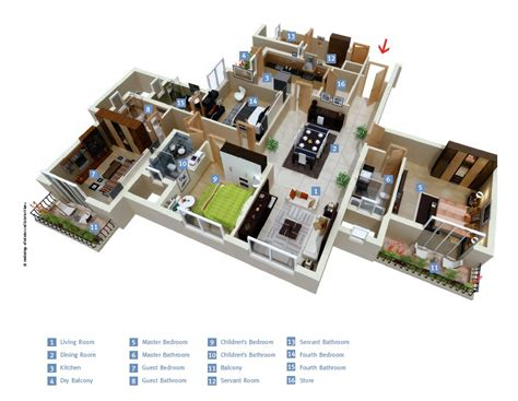 "4 Bedroom Apartment/House Plans : 50 Four ""4"" Bedroom Apartment/house Plans"