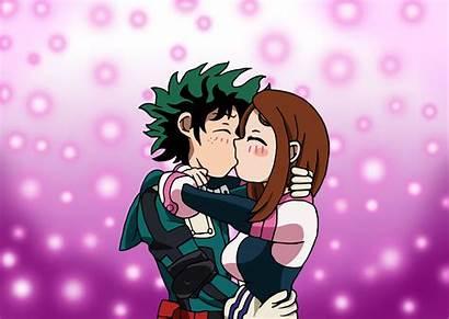 Deku Uraraka Academia Hero Mha Kiss Ochako