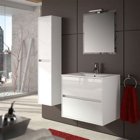 meuble salle de bain 70 cm 2 tiroirs vasque porcelaine blanc aliso