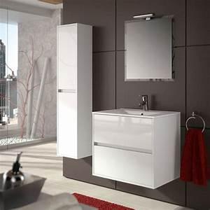 Meuble Tiroir Salle De Bain : meuble salle de bain 70 cm 2 tiroirs vasque porcelaine blanc aliso ~ Teatrodelosmanantiales.com Idées de Décoration