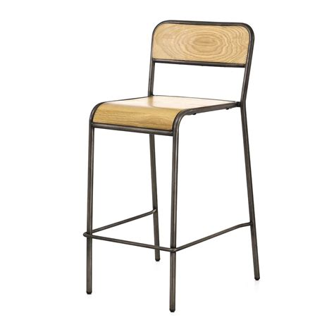 chaise plan de travail style vintage chêne et métal brossé