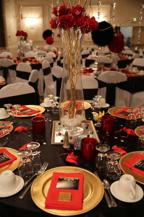 red black  gold table decorations   birthday