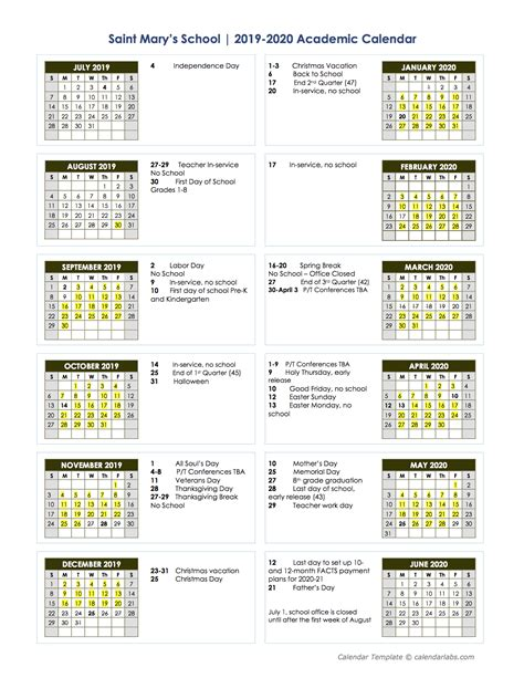 proposed academic calendar st marys school