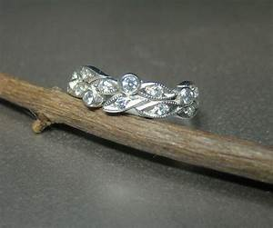Hand Crafted Leaf Engagement Ring Wedding Ring 14k White