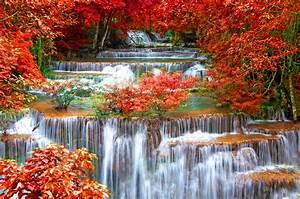 Thailand, Seasons, Autumn, Waterfall, Kanchanaburi, Province, Nature, Wallpapers, Hd, Desktop, And