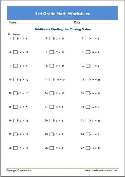grade math worksheets  edumonitor  grade math worksheets mathematics worksheets