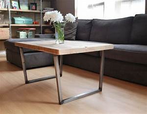 Items similar to wood coffee table with square steel legs for Coffee table white legs wood top