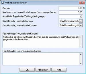 Zinsbetrag Berechnen : einstellungen f r mahnzinsen ~ Themetempest.com Abrechnung
